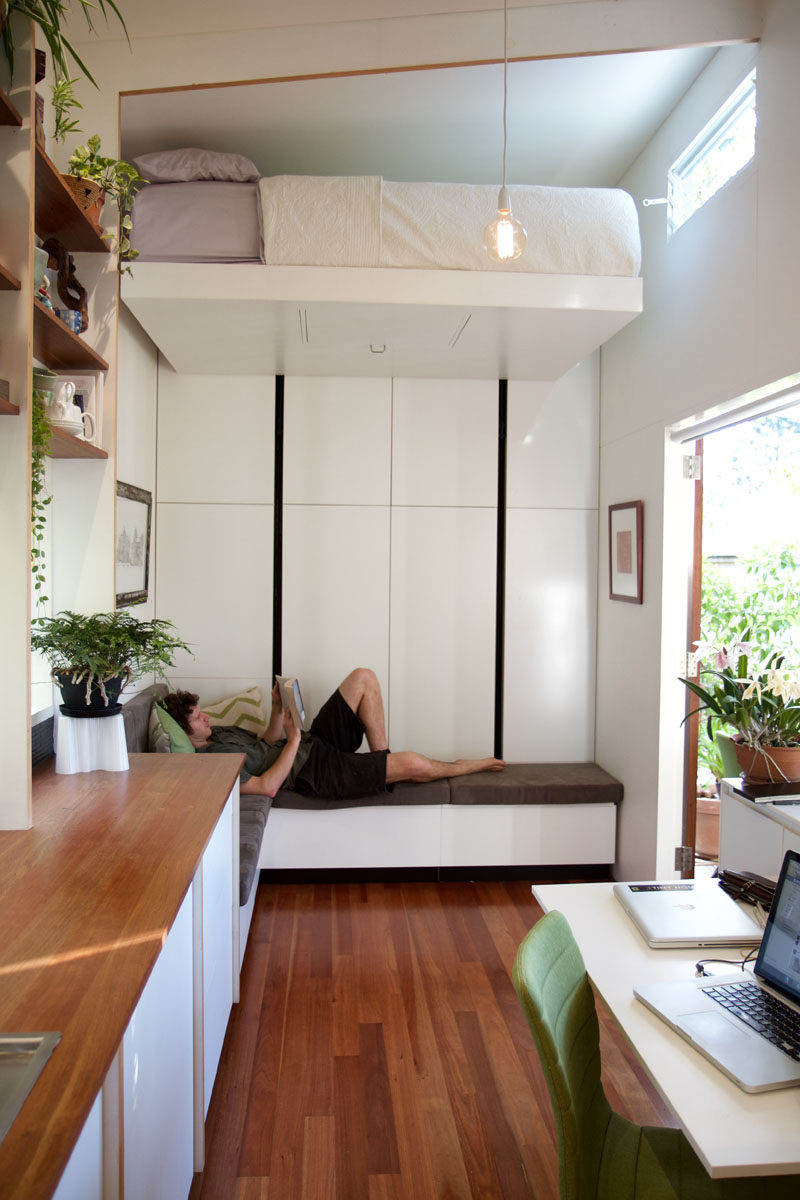 Tiny Home Designs: This Tiny House Has A Retractable Bed To Save Space