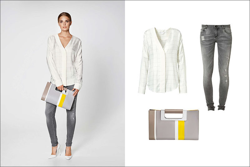 Women's Fashion Ideas - 12 Women's Outfits From Porsche Design's 2017 Spring/Summer Collection // A window pane blouse, ripped jeans, and a grey clutch with a pop of yellow create this versatile women's outfit.