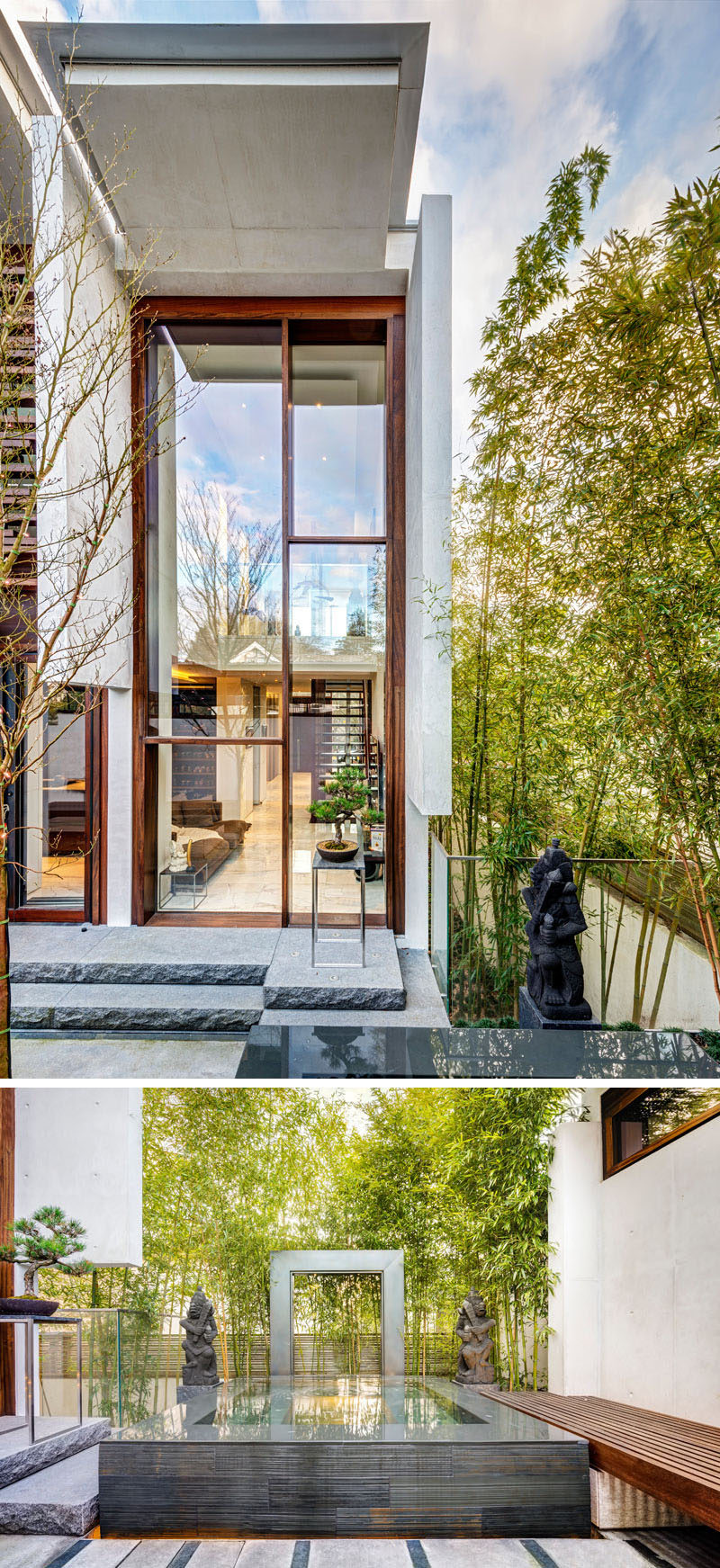Just off the kitchen in this modern home is a quiet and peaceful oasis where influences from Bali and Thailand can be seen with a water feature, statues and bamboo.