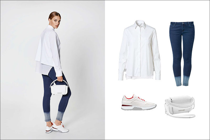 Women's Fashion Ideas - 12 Women's Outfits From Porsche Design's 2017 Spring/Summer Collection // This casual women's outfit is made up of a white draped blouse, two toned jeans, a white bag, and red and white shoes for a little pop of color.