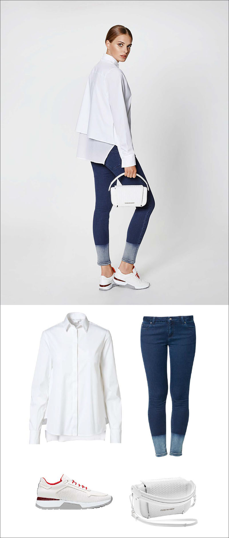 Women's Fashion Ideas - 12 Womens Outfits From Porsche Design's 2017 Spring/Summer Collection // This casual women's outfit is made up of a white draped blouse, two toned jeans, a white bag, and red and white shoes for a little pop of color.