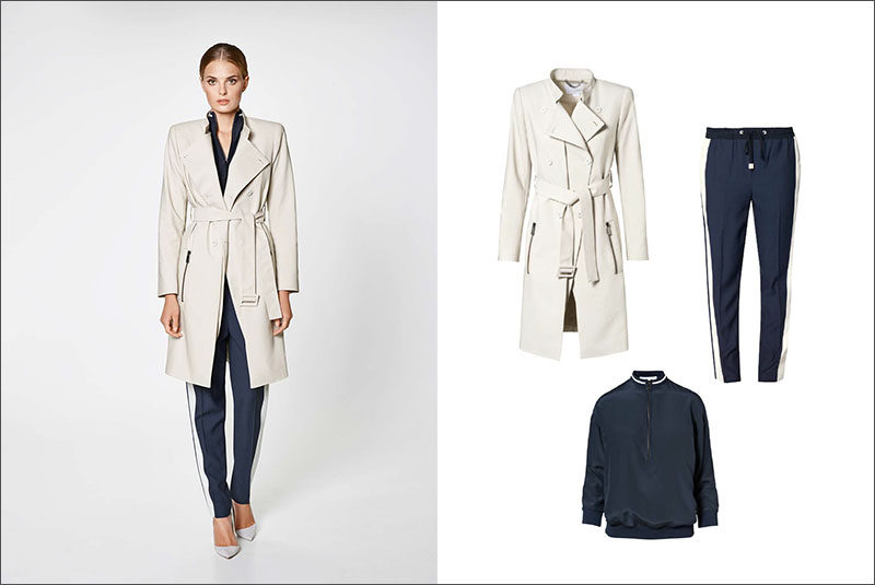 Women's Fashion Ideas - 12 Women's Outfits From Porsche Design's 2017 Spring/Summer Collection // This casual women's outfit, featuring a navy blouse and navy and white pants, has been dressed up with with a double breasted trench coat and pumps.