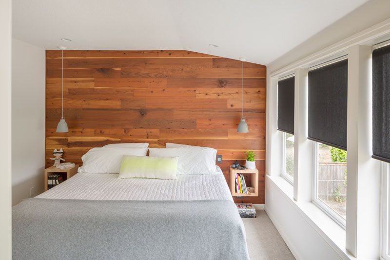 bedroom design ideas wood accent wall behind the bed with floating nightstand - Accent Wall Design Ideas