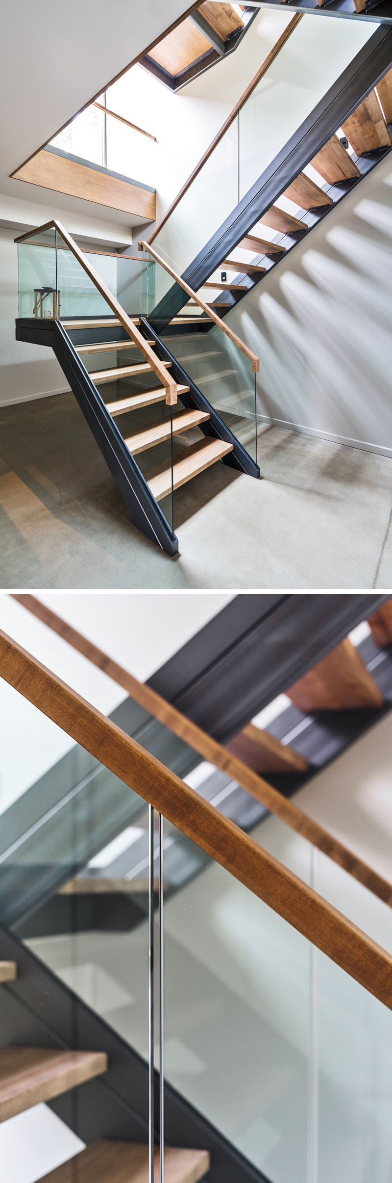 These stairs in a Canadian home use wood, steel and glass to create a contemporary look.