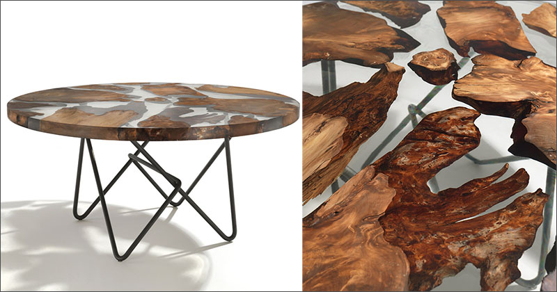 Ancient new zealand wood was combined with resin to create for Creative table tops
