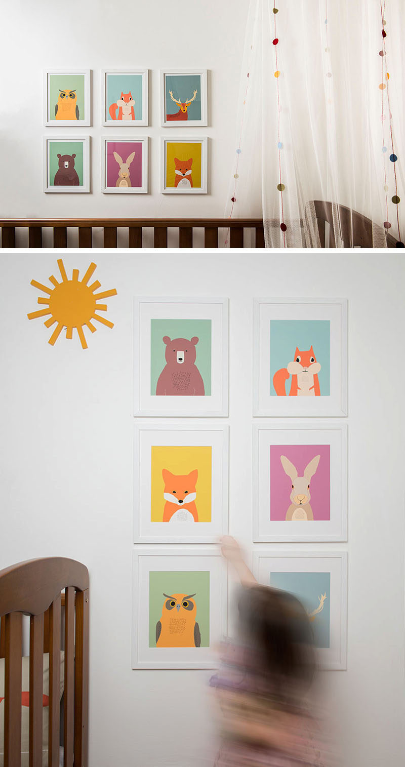 15 Decor Ideas For Creating A Woodland Nursery Design // Include your favorite woodland creatures in the nursery with cartoon prints on colorful backgrounds that are in keeping with the other colors in the room. #WoodlandNursery #BabyNursery #NurseryArt #ModernNursery
