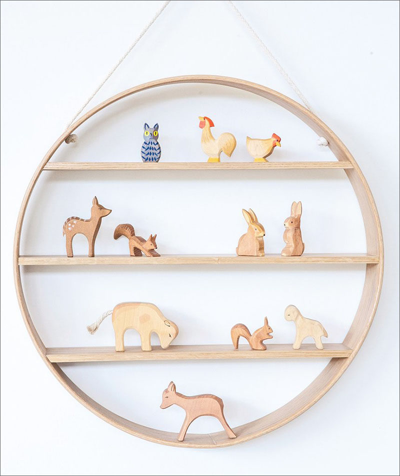 15 Decor Ideas For Creating A Woodland Nursery Design // Wooden woodland creatures are likely going to be included in your nursery so make sure you've got the perfect shelf to display them on. #WoodlandNursery #BabyNursery #NurseryArt #ModernNursery
