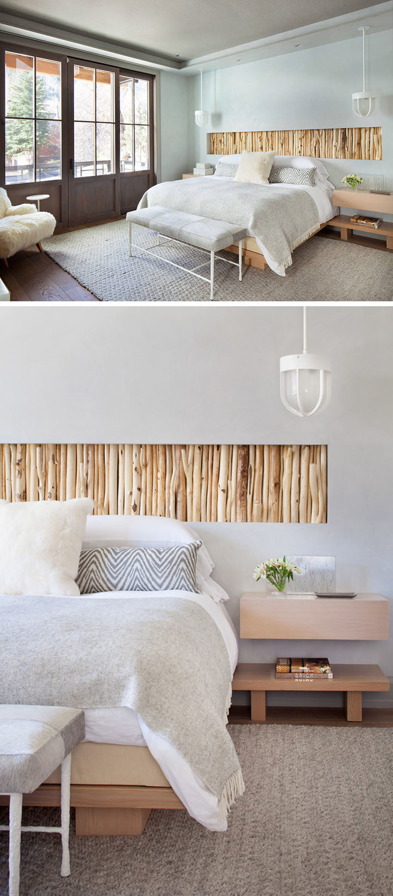 This bedroom has a recessed wall section filled with rustic branches that act as a headboard above the bed