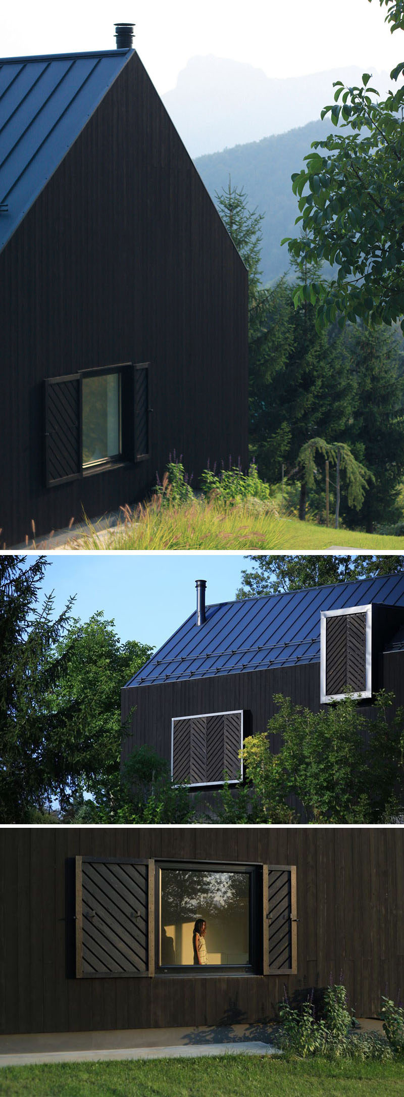 The design of this small modern black house includes a pitched roof. Blackened wooden (Shou Sugi Ban) was used as siding to cover the home, and to match the color of the house, black wooden shutters with a diagonal pattern have been attached to the house and can be used to cover the windows when needed.