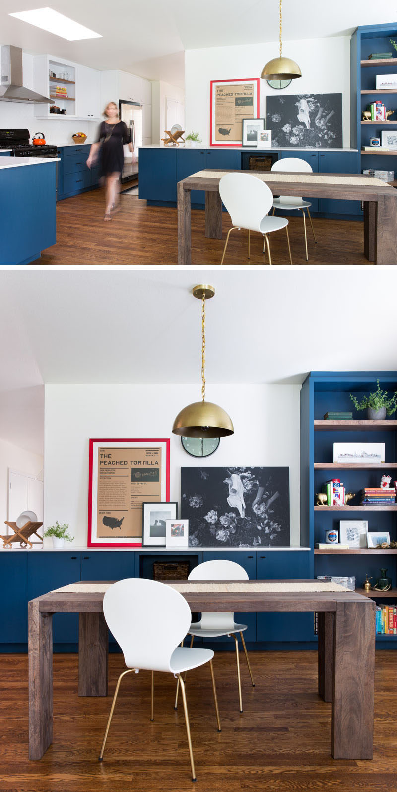 This Home In Austin Received An Updated White And Navy Blue Kitchen