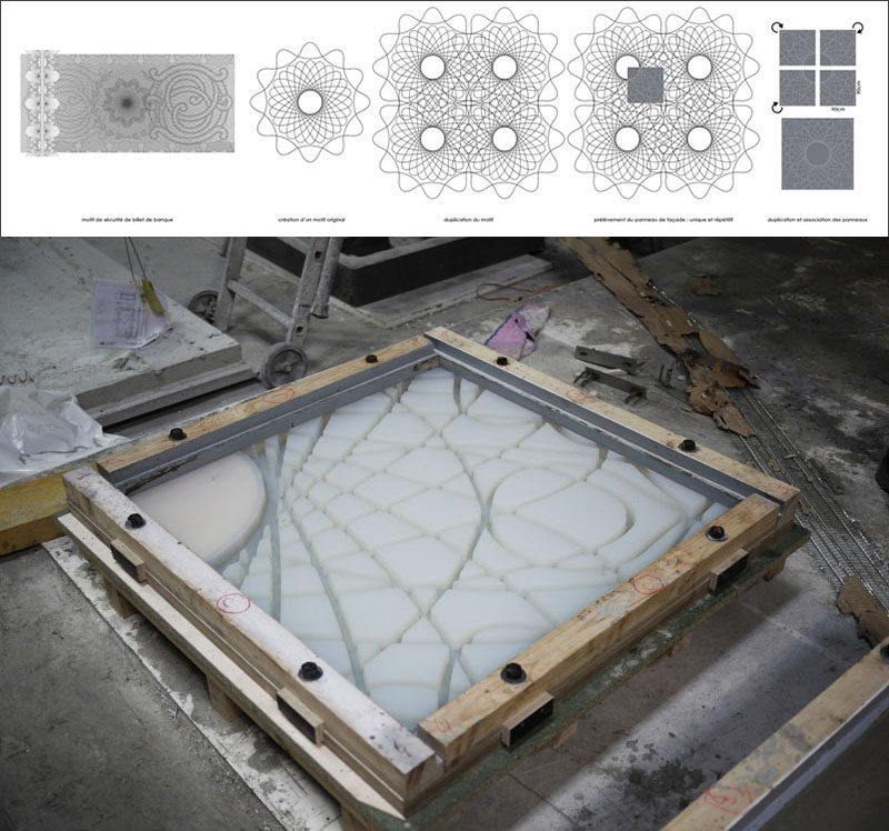 This is the mold used to create decorative concrete panels that were then used to cover the facade of a building in France.