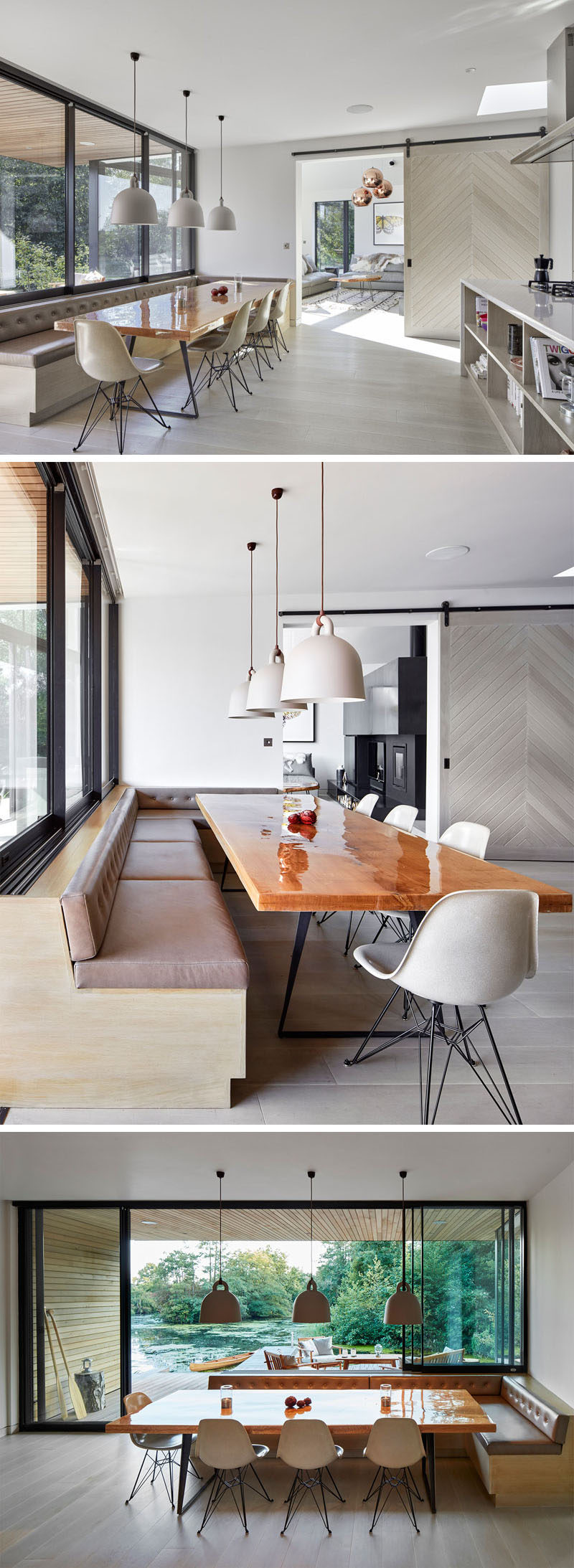 In this open kitchen and dining area, there's a large built-in banquette that wraps around the corner and provides the perfect position for the wood dining table.
