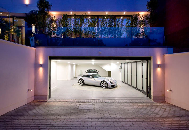 garage design ideas include a car turntable if youre short on space or