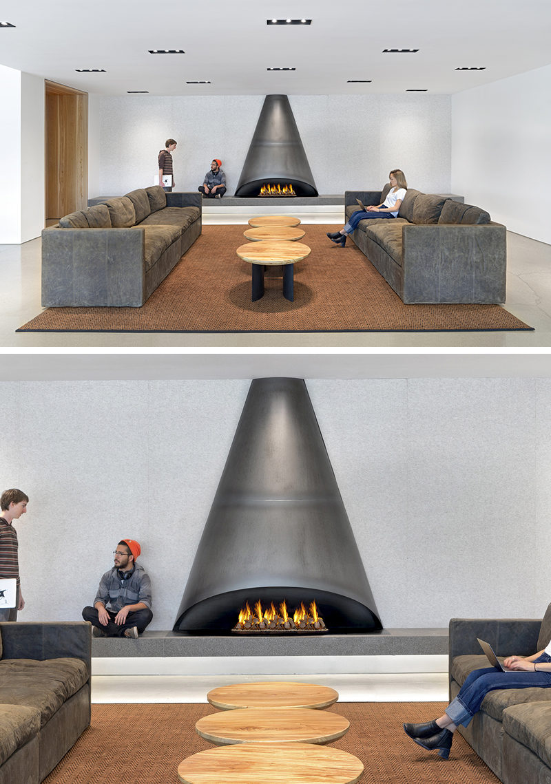 This Cone Shaped Black Steel Fireplace Design Sets A
