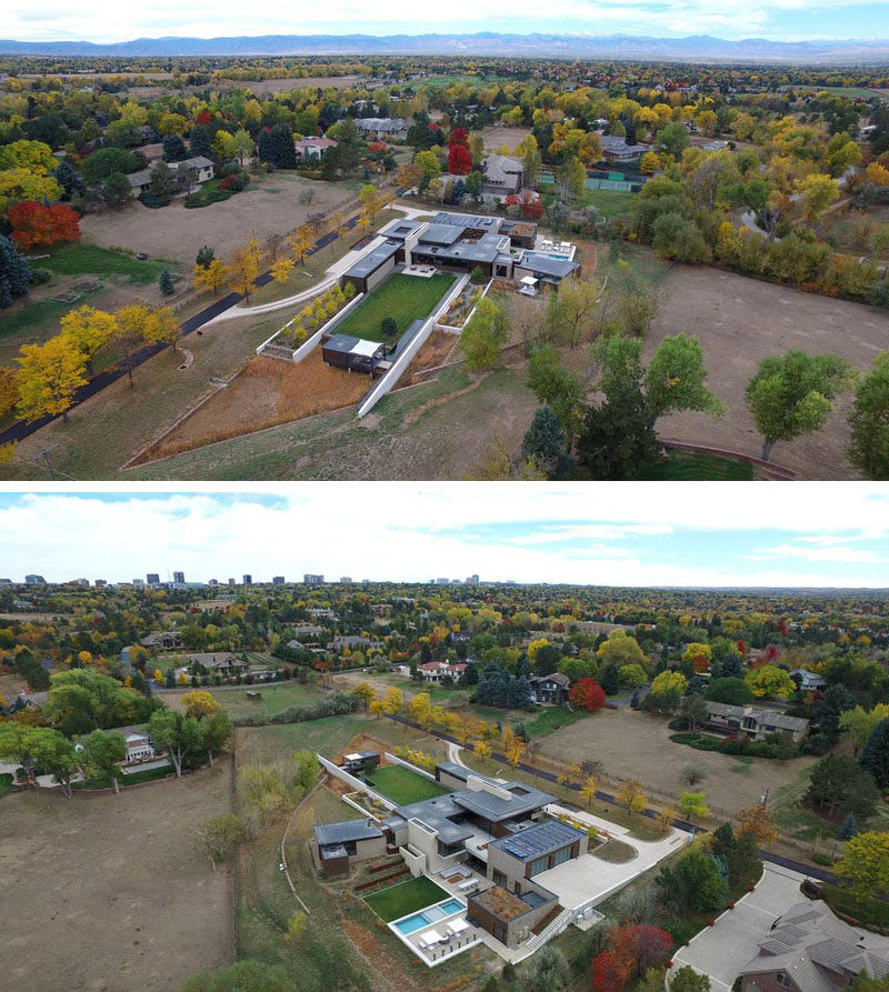 This aerial view of a house in Colorado shows the layout of the home from different angles.
