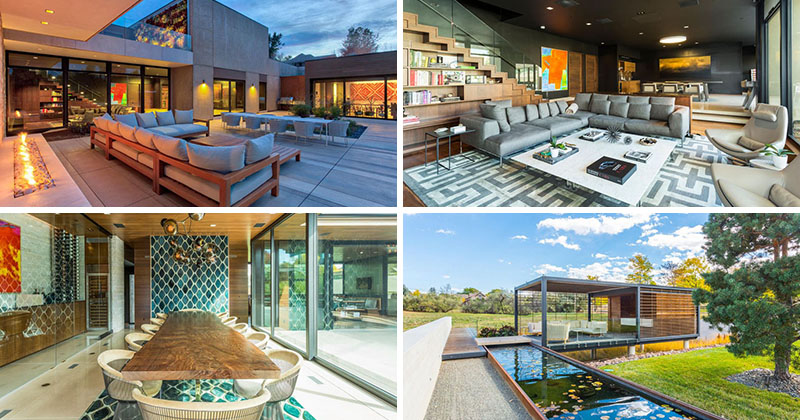 Fabulous outdoor living spaces with fireplace home design ideas 2017 - There Are Multiple Living Spaces Inside This Sprawling Suburban House