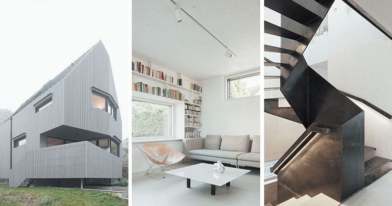 An angular exterior surrounds the minimalist interior of this house in France