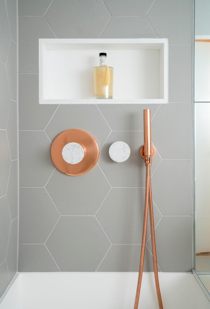 This Bathroom Features Copper And Marble Fixtures Next To Light Gray Hexagon  Tiles Part 77