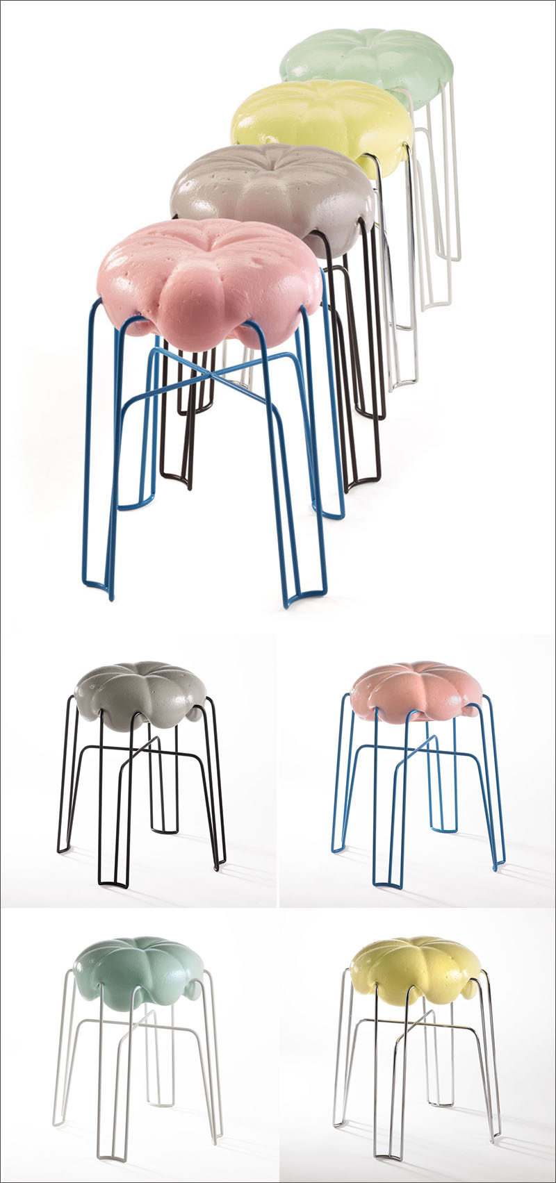 Unique Modern Furniture Design - Inspired by the value and power of play, German product designer Paul Ketz has created Marshmallow - a steel framed stool covered with a soft foam seat that mimics the look of fluffy marshmallow creme.