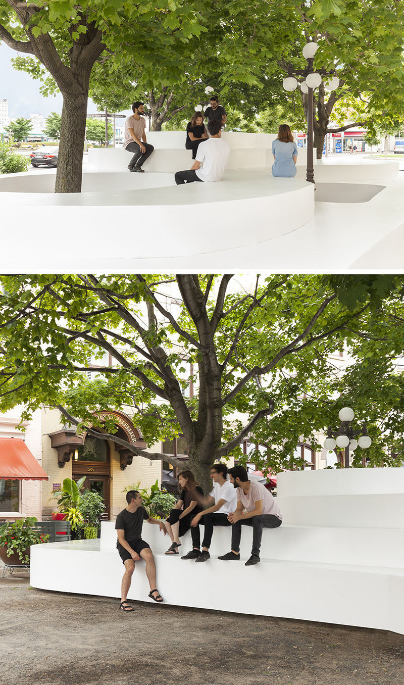 Atelier Pierre Thibault designed a public seating installation named Le Banc de Neige (The Bench of Snow), that was inspired by the snowbanks that gather around the trees and street lights in winter.