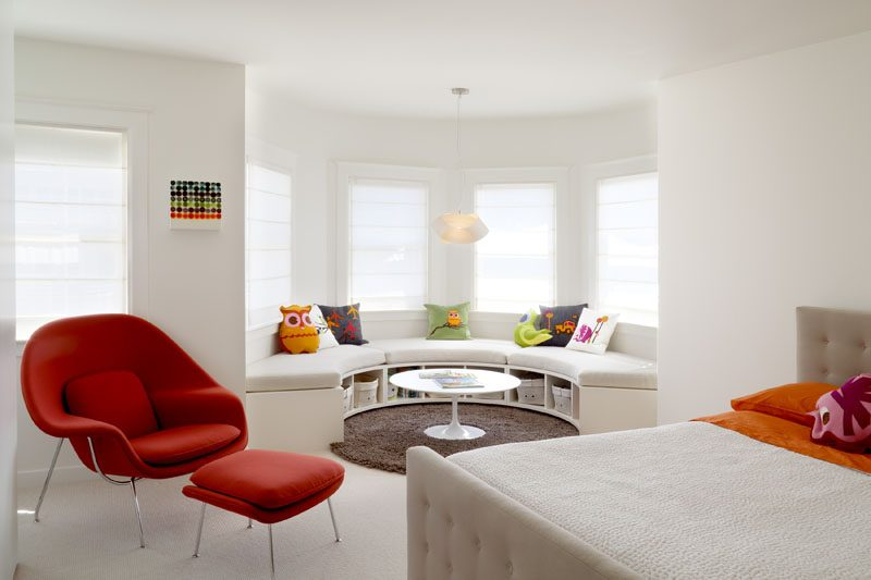 Kids Bedroom Idea - Create A Curved Window Seat With Built-in Storage Under A Bay Window