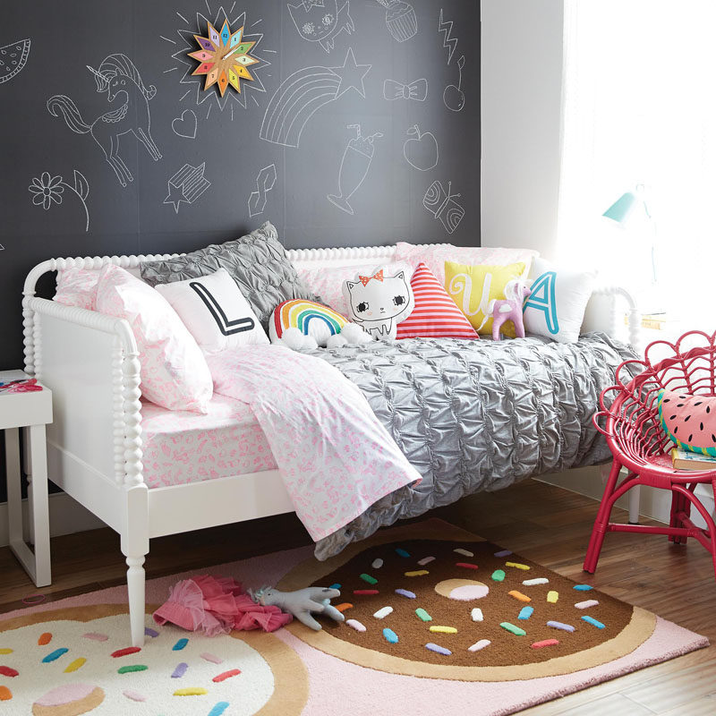 In A Cute Girl Or Tween Bedroom, Create A Chalkboard Wall As A Space For