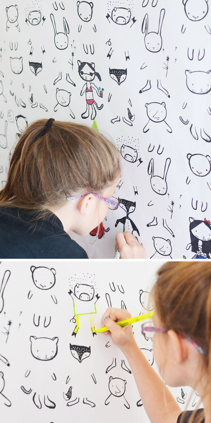 Here's a cute bedroom decorating idea, install fun kids wallpaper that let's them fill-in-the-blanks.
