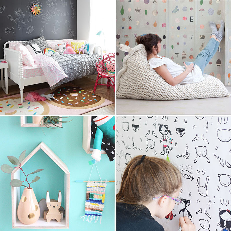 Here's a collection of cute bedroom decorating ideas perfect for a girl or tween, that include chalkboard walls, wall art and comfortable furniture.