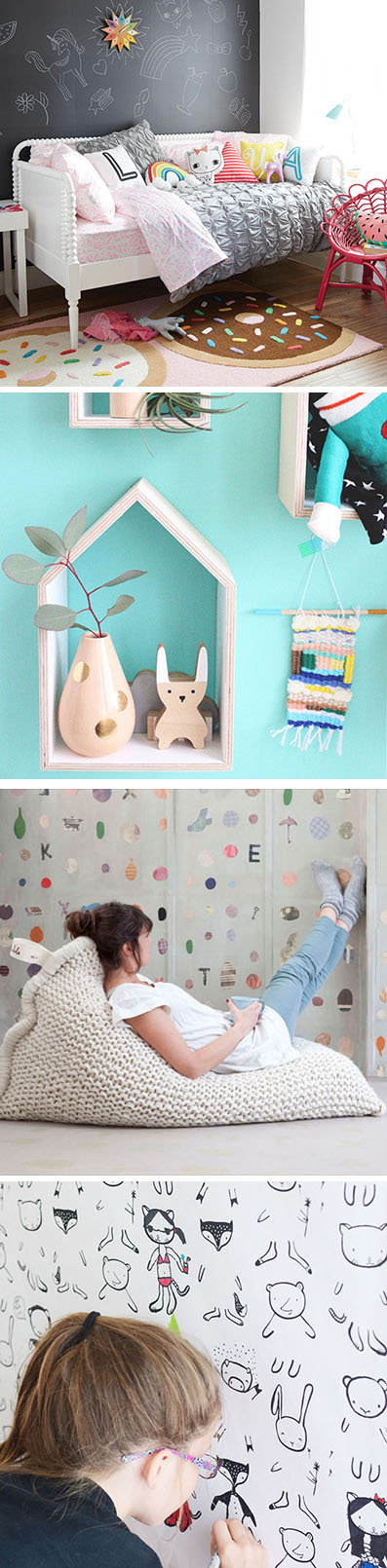Here's a collection of cute bedroom decorating ideas perfect for a little girl or tween, that include chalkboard walls, wall art and comfortable furniture.