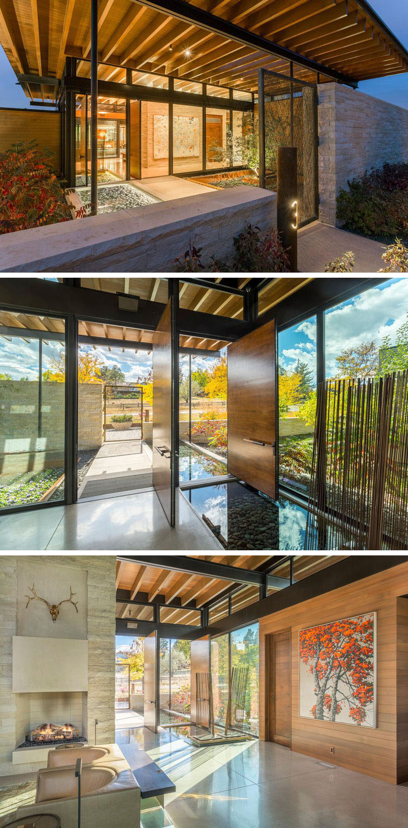 Stepping inside this home, there's a small water feature and garden to welcome you before entering through the large pivoting wood door.