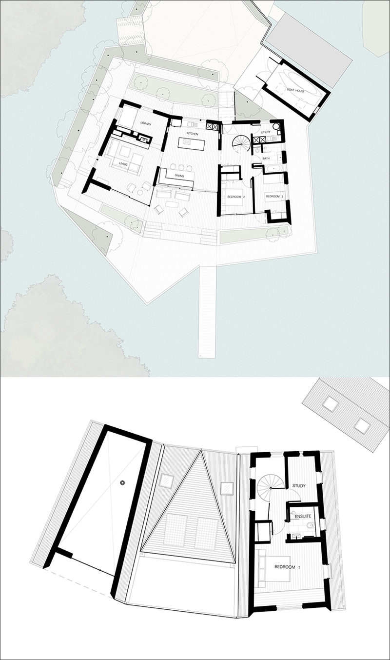 This floor plan is for a modern house that sits next to a lagoon.