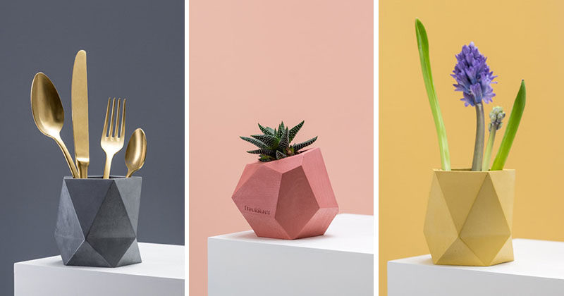 These colorful concrete planters and vases add a modern geometric look to your home decor.