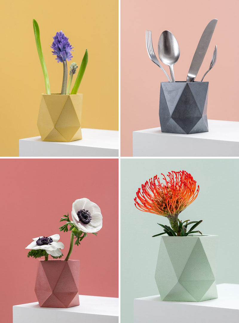 Austrian designer Klara Schuster, has created a collection of colorful concrete planters and vases that add a modern geometric look to your home decor. Plus they can also be used as a stylish container for various household items, like cutlery.