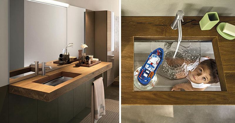 The Depth Basin, designed by Daniele Lago for the Italian design brand LAGO, is a glass sink that when combined with wood (or other materials) creates a unique looking vanity that would fit right into any modern bathroom.