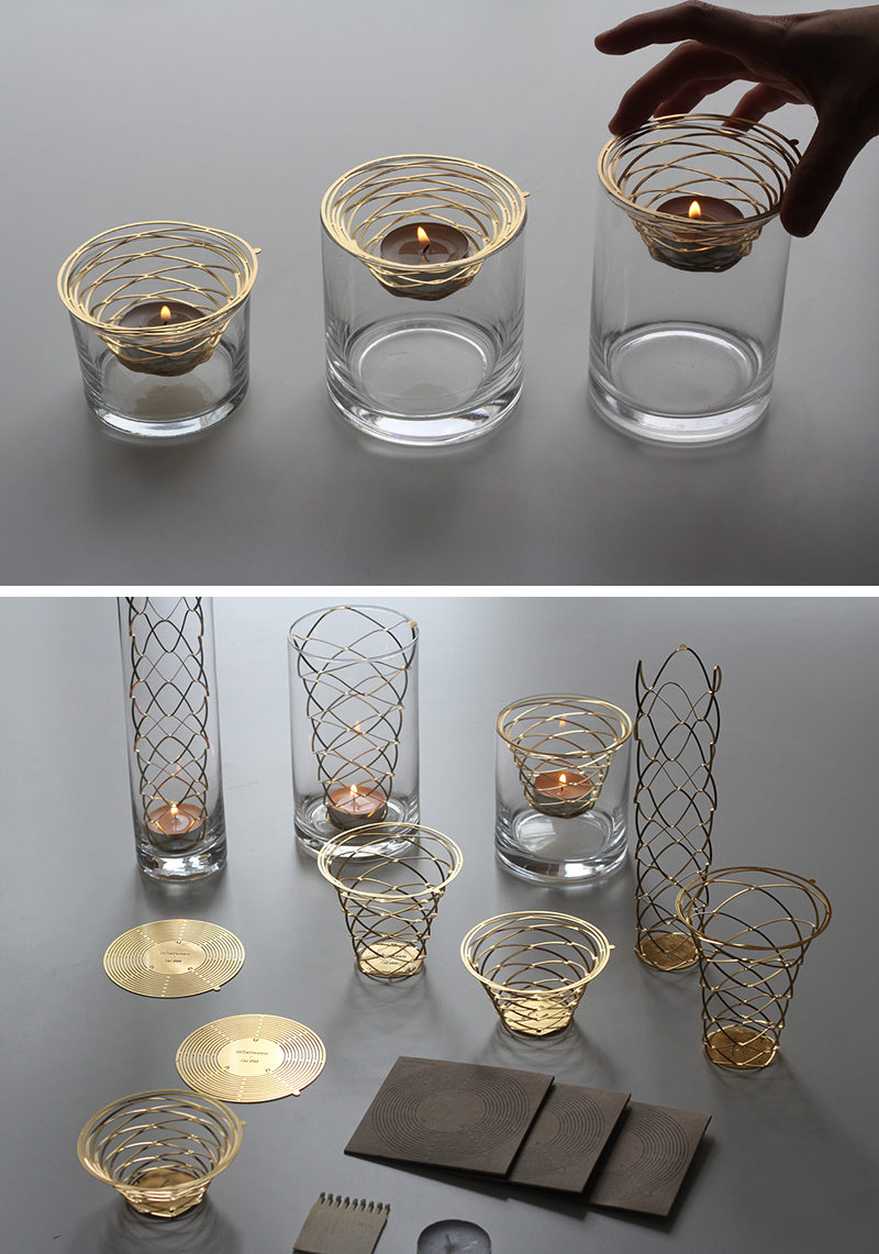 This minimalist metal candle holder starts out as a brass disc and can be formed into a modern tealight holder with just the use of your hands, making it a great way to add a personal touch to your home decor.
