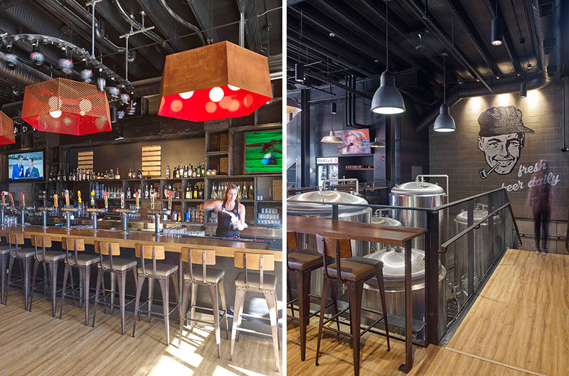 Modern Office of Architecture and Design (MODA) have completed Trolley 5 Restaurant & Brewery, a brew pub full of industrial elements on a popular street in Calgary, Alberta.
