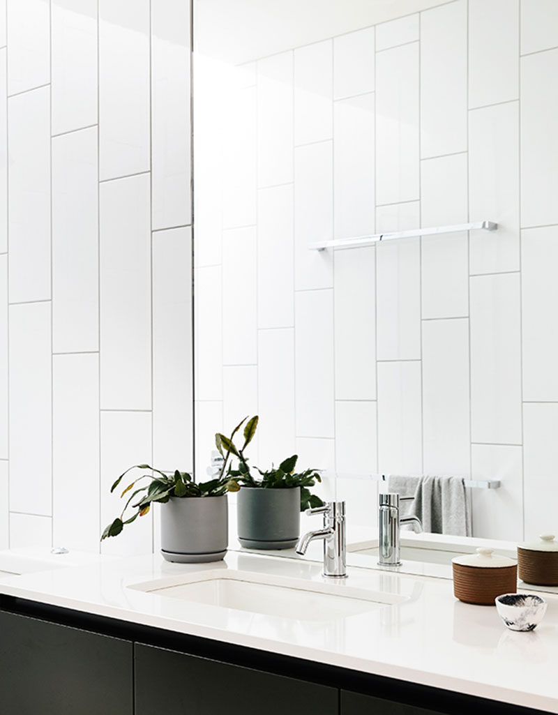 Bathroom Tile Design Idea - Oversized Subway Tiles Installed Vertically Instead Of Horizontally