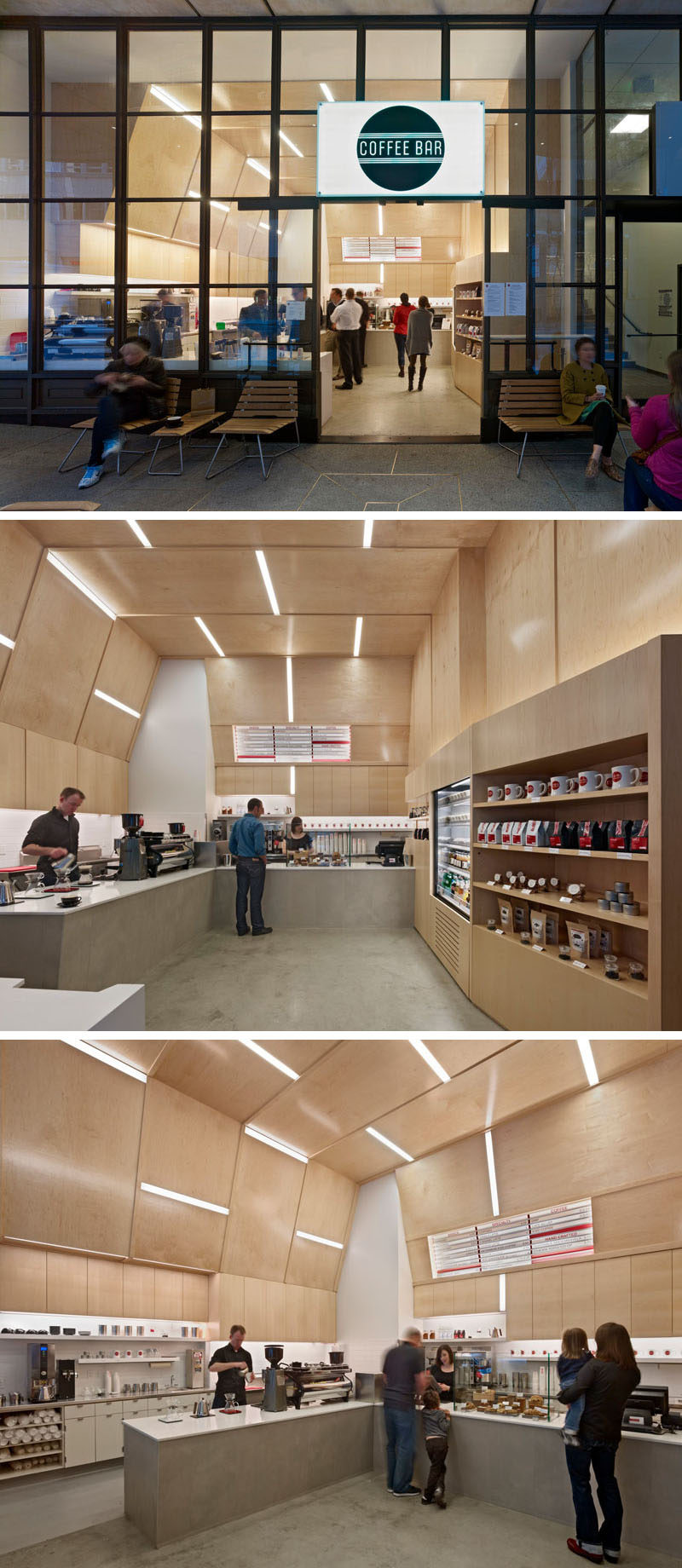 This modern coffee shop design has the walls and ceiling covered in plywood. Embedded within the plywood walls are strips of lighting creating a unique and artistic design.