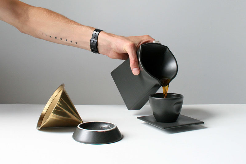 This matte black, porcelain, pour-over coffee press is the perfect addition to your modern coffee station, and will definitely impress your guests.