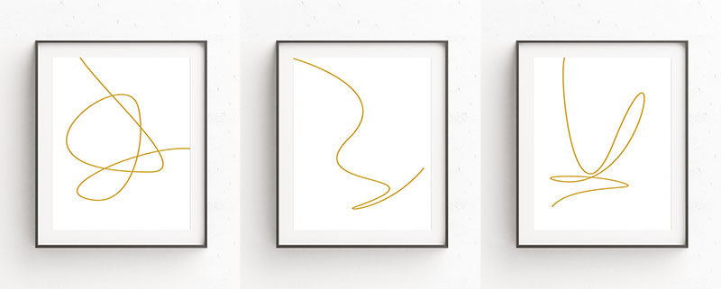 Minimalist Gold Line Art Prints Make A Dramatic Statement For A Modern Interior