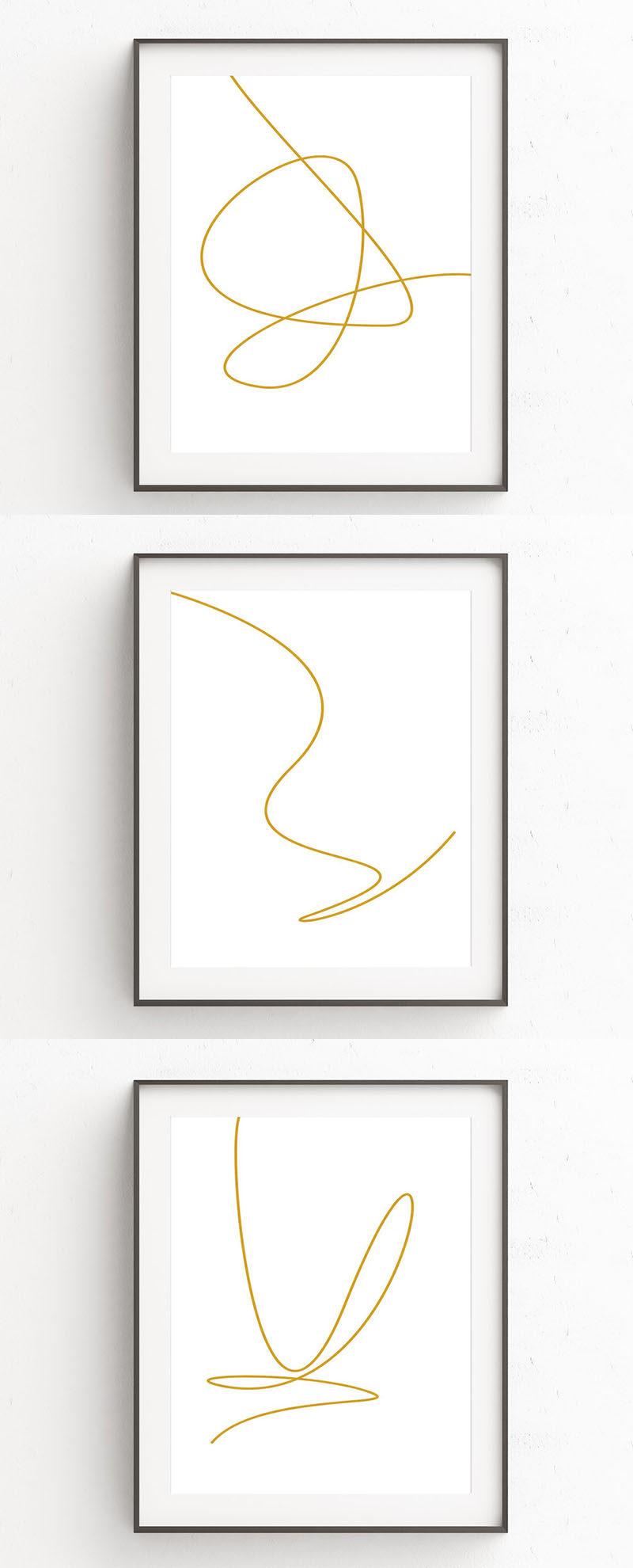 Minimalist Line Art : Minimalist gold line art prints make a dramatic statement
