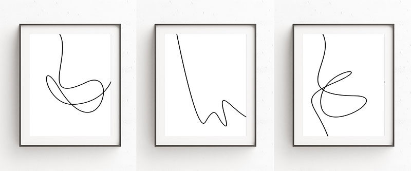 Oju Design has created this collection of minimalist modern line art prints that have single black lines with smooth curves interrupting the all white backgrounds to create art that's simple and easy to look at.