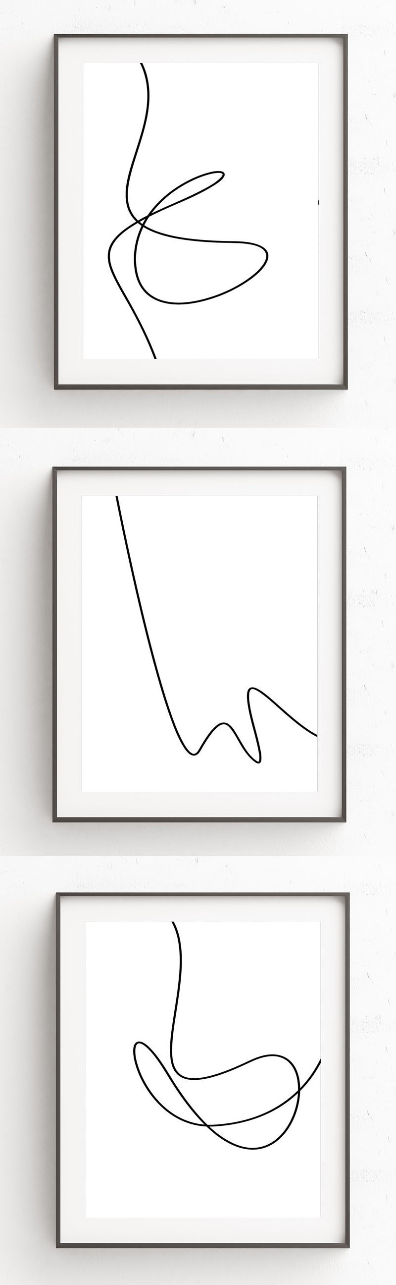 Oju Design has created this collection of modern minimalist line art prints that have single black lines with smooth curves interrupting the all white backgrounds to create art that's simple and easy to look at.