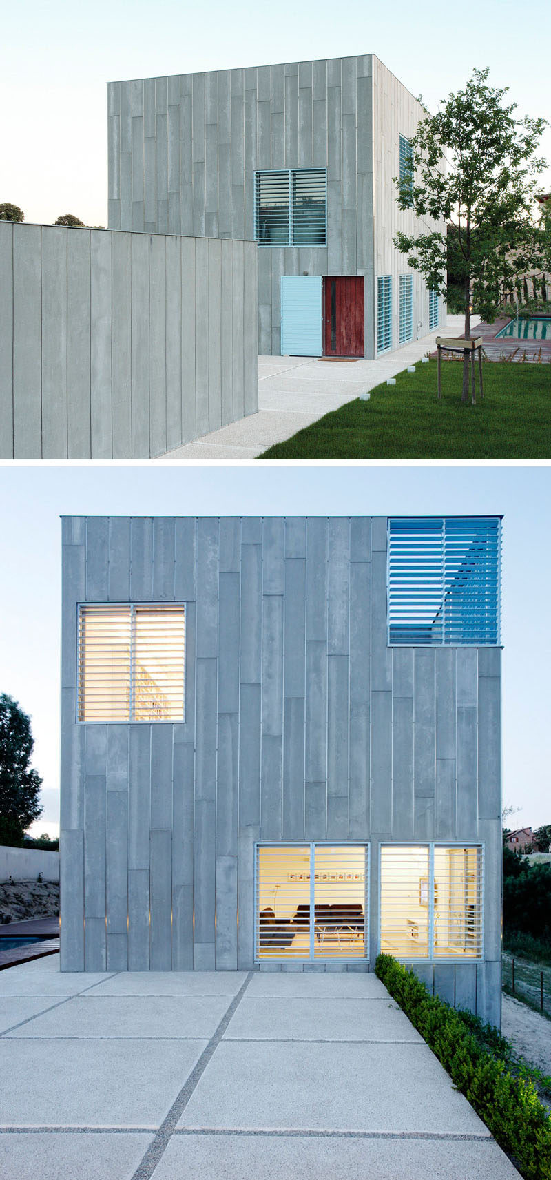 12 Minimalist Modern House Exteriors // Grey siding covers this exterior of this home that features light blue shutters to create a playful yet minimal appearance.
