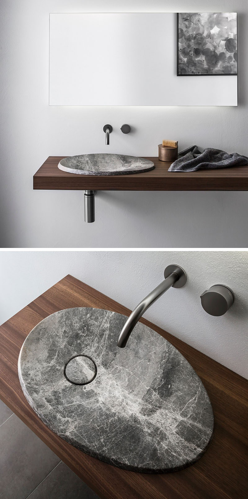 This modern bathroom sink made from natural stone sits on a floating wood  vanity and has The design of this is inspired by the shape