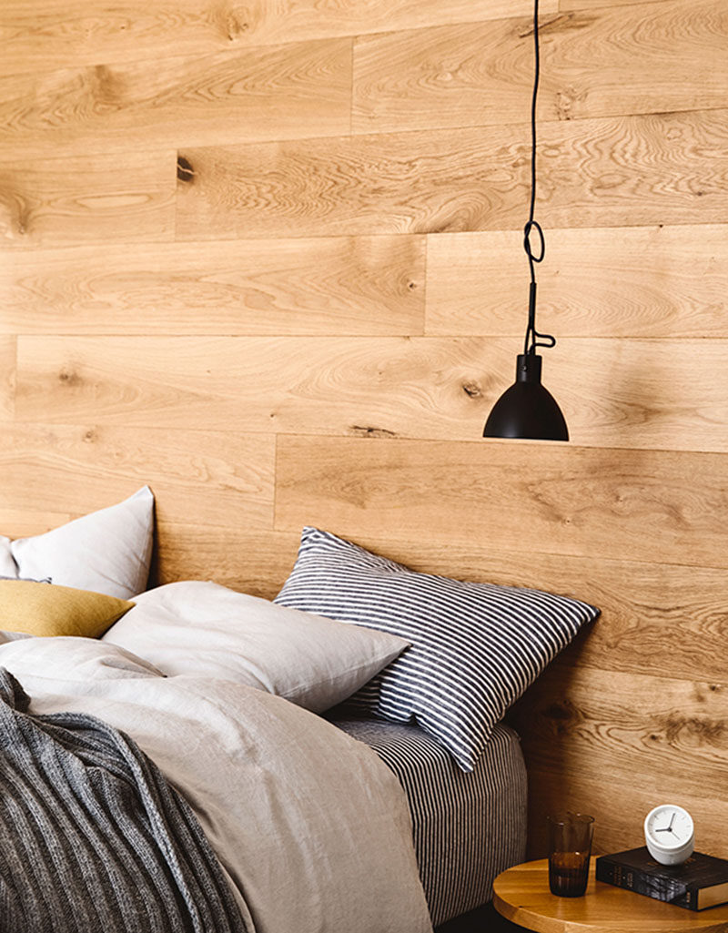 Bedroom Design Idea - Install A Wood Accent Wall Behind The Bed Instead Of A Headboard