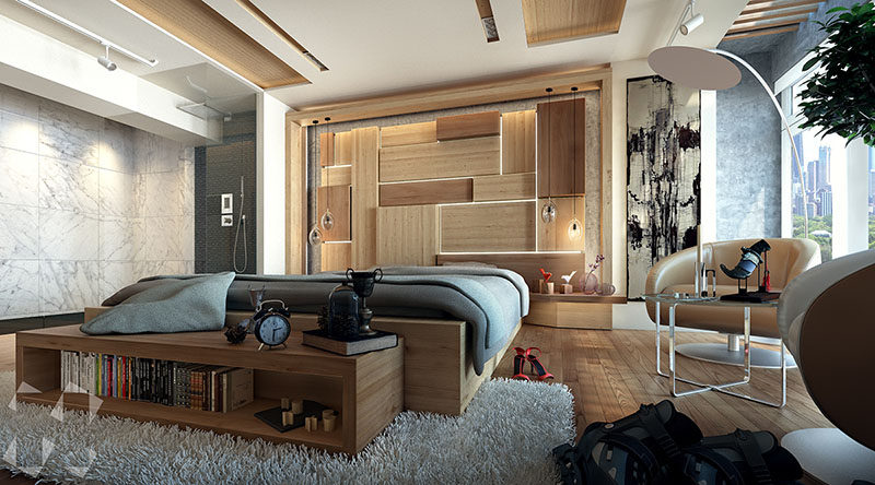 Hidden Lighting this modern bedroom features an artistic wood headboard with