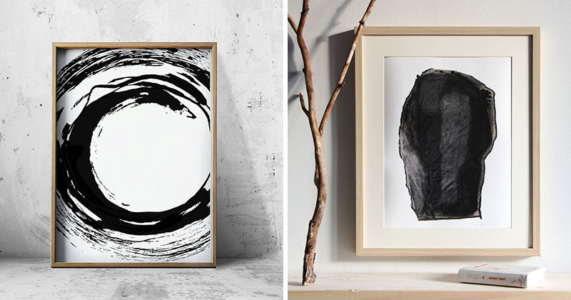 Wall art ideas 14 ideas for black and white abstract for Modern black and white wall art