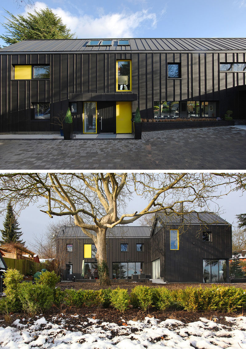 House Exterior Colors – 14 Modern Black Houses From Around The World / This black house features pops of yellow on the exterior to exterior doors and windows to create a happy contrast.