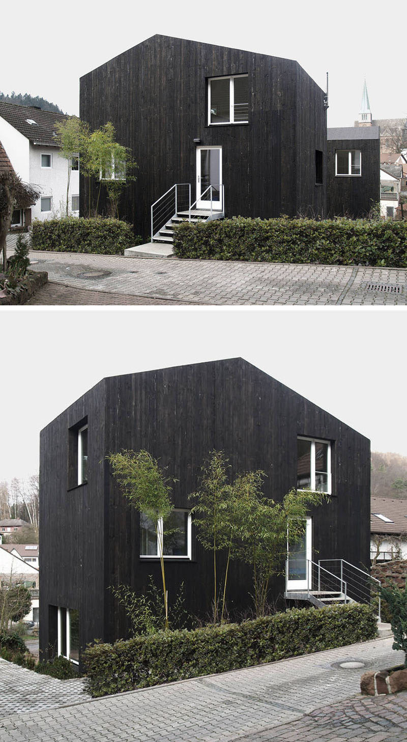 House Exterior Colors – 14 Modern Black Houses From Around The World / Two small black wood clad buildings make up this unique single family home.